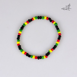 Wholesale Glass Beads Wholesale Free Shipping - 40pc lot Glass Seed Beads Bracelet Rasta Reggae Punk Hiphop Elastic Stretch Bracelets Fashion Jewelry Free Shipping