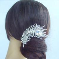ingrosso capelli di cristallo di pavone dei rhinestones-Pettine per capelli piuma di pavone nuziale diadema con cristalli di strass trasparenti FSE05038C1