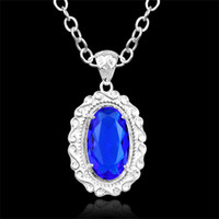 Wholesale Prasiolite Jewelry - Best Valentine's day 925 sliver blue amethyst prasiolite jewelry pendant gremstone neacklace +pendant Tracking number P0468free shipping