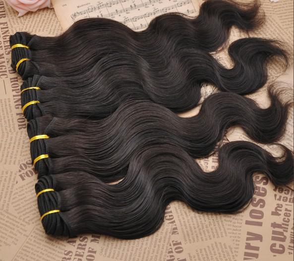15% di sconto / lotto 100% non trasformati dell'onda del corpo estensione dei capelli umani tessuto brasiliano vergine di trama lunghezza della miscela DHL libera il trasporto naturale # 1b di colore