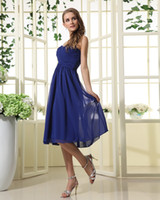 Wholesale Strapless Dr - 2013 Sexy Royal Blue Bridesmaid Dress Sweetheart Ruffle Chiffon Flower Knee Length Junior Girl Dress For Bridesmaid Summer Wedding Party Dr