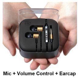 Wholesale earphone galaxy note - M3 In-ear Earphone & MIC Volume Control For iPhone 5 5S 5C Galaxy S4 Note 3 HTC Mosidun Metal Headphone & Retail Pack Earcap Free Shipping