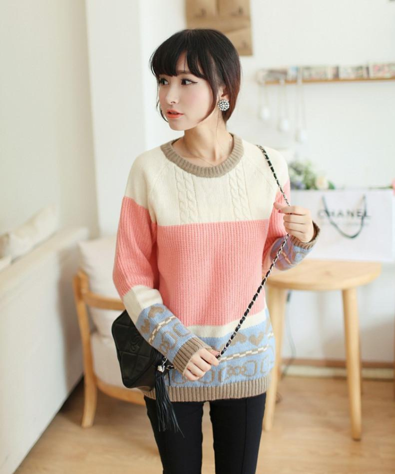 2019 Christmas Korean New Winter Fashion Knitted Stripe ...
