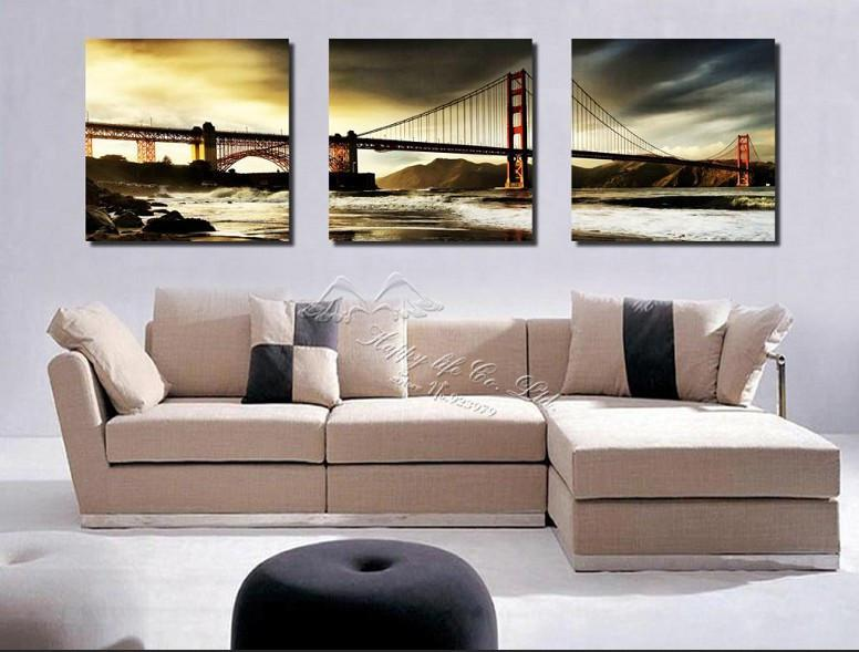 3 Pieces Modern Wall Painting wall picture Home Decorative Art oil Painting canvas art bridge Free Shipping Hot Sell