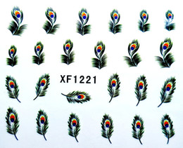 Wholesale Peacock Nail Wraps - New arrival Nail Art Wrap Water Transfer Sticker Decals Peacock Feathers 20 sheets lot Free Shipping