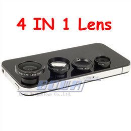 Wholesale Iphone Lens Set - 4pc lot Magnetic 4 in 1 Wide Angle lens  Macro lens 180 Fish Eye 2X telephoto Lens Kit Set for iPhone 5 5S 5C 4 4S iPod iPad Air Note 2 3