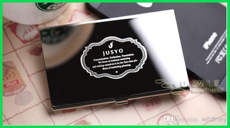 Compre 2x de ao inoxidvel pocket business name card holder carto ver imagem maior reheart Images
