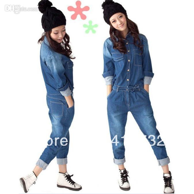 8e9d865e72c4 2019 2015 New Arrival Denim Jumpsuit For Women Detachable At Back With Long  Sleeve Spring Autumn Casual Trousers European Style From Jamp