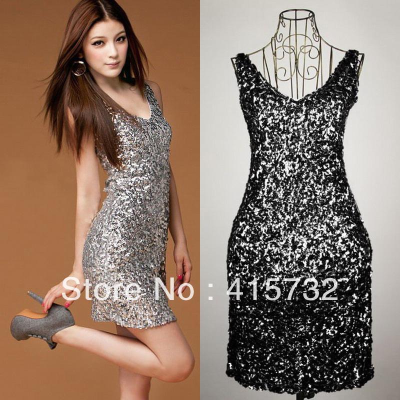 2015 Plus Size Sexy V Neck Fashion Mini Disco Dress Paillette