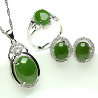 Wholesale Cluster Solitaire Rings - Natural jade and nephrite jade pendant earrings set 925 sterling silver ring set with three-piece wedding jewelry
