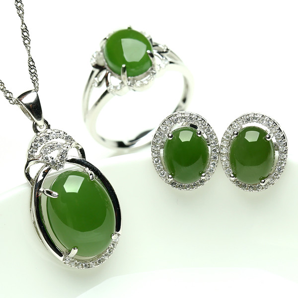 Natural jade and nephrite jade pendant earrings set 925 sterling natural jade and nephrite jade pendant earrings set 925 sterling silver ring set with three aloadofball Image collections