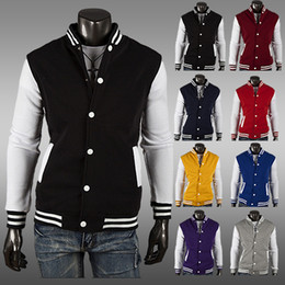 Wholesale Mens Football Jackets - Mens Letterman Varsity Baseball Jacket College Coat 8-Colors SPORTS FOOTBALL New Uniform Jersey Hoodie Hoody