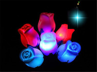 Wholesale Colorful Led Rose Light - 200pcs Colorful PVC Rose Shaped LED Light Rose Flower Night Light Romantic Love Light (Color Randomly) Rose Night Lights Contain Battery