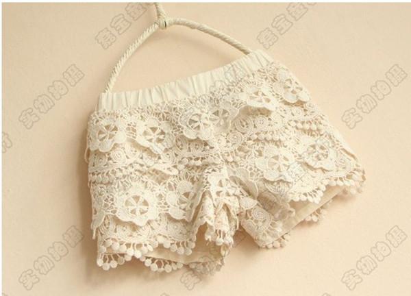 top popular Beautiful Lace Girl Shorts %100 Good Quality Lining Pure Cotton Children's Lace Shorts Kids Short Pants Hot Pants QZ497 2020