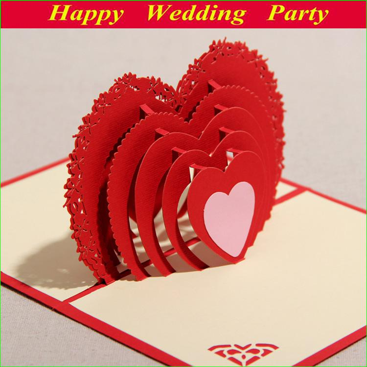3D Red Greeting Card With Lover Amp Heart For Valentine Day Sweet