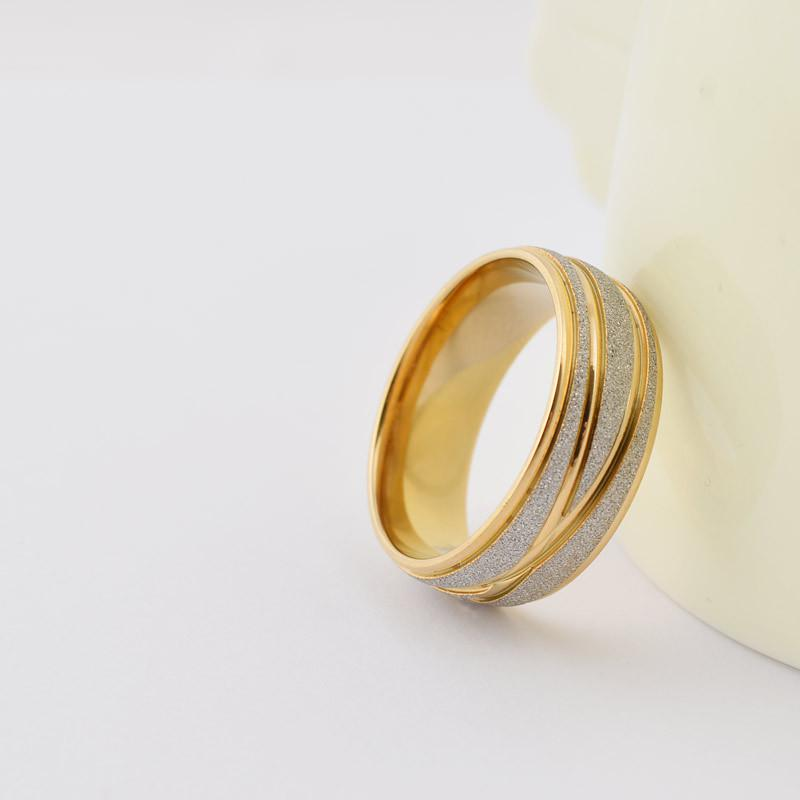 Fashion silver frosted gold crossed lines couple rings 316L