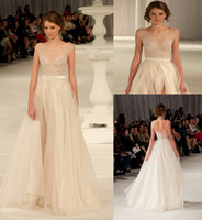 Fashion 2014 New Paolo Sebastian Wedding Dresses A Line Organza Split Front Backless Dress Applique Beading Bridal Gowns