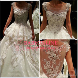 Wholesale Short Bridal Dress Feathers - Sexy Luxury Bling Lace Crystals A-line Wedding Dresses Cathedral Train Sheer Illusion Embroidery Winter Cap Sleeves Backless Bridal Gowns