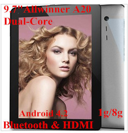 Wholesale Cheapest Hdmi Bluetooth Tablet - Cheapest 9.7 Inch android 4.2 Tablet PC Dual core Allwinner A20 Dual camera 1GB 8GB HDMI with Bluetooth 1024*768 capacitive screen tablet pc