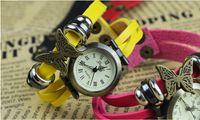 relógios sem logotipos venda por atacado-Moda Retro Weave De Couro De Quartzo Relógio De Pulso Borboleta Pingente Pulseira Senhora Relógio Rodada Dial Sem Logotipo 50 pcs DHL Frete Grátis