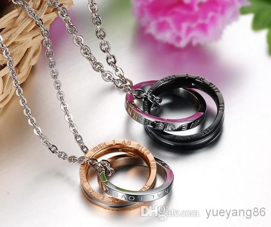 Fashion Couple Jewelry n831 A pair 316L Stainless Steel Eternal Love Couples CZ Rings Pendant Promise Necklace