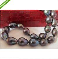 "Wholesale Tahitian Pearls China - 22""12mm natural tahitian black green pearl necklace 14K"
