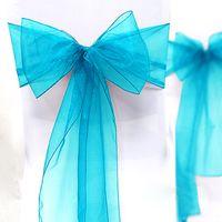 "Wholesale Organza Sashes Decor - Wholesale-High Quality Aqua Blue 8"" (20cm) W x 108"" (275cm) L Wedding Favor Party Banquet Organza Chair Sash Decor-Free Shippin"