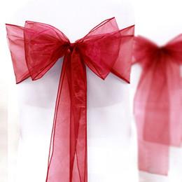 "Wholesale-High Quality Dark Red 8"" (20cm) W x 108"" (275cm) L Wedding Favor Party Banquet Organza Chair Sash Decor-Free Shipping on Sale"