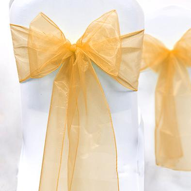 "Wholesale-High Quality Gold 8"" (20cm) W x 108"" (275cm) L Wedding Favor Party Banquet Organza Chair Sash Decor-Free Shipping"