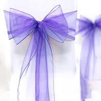 "Wholesale Organza Chair Sashes Lavender - Wholesale-High Quality Lavender 8"" (20cm) W x 108"" (275cm) L Wedding Favor Party Banquet Organza Chair Sash Decor-Free Shipping"