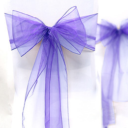 "Wholesale Lavender Organza Fabric - Wholesale-High Quality Lavender 8"" (20cm) W x 108"" (275cm) L Wedding Favor Party Banquet Organza Chair Sash Decor-Free Shipping"