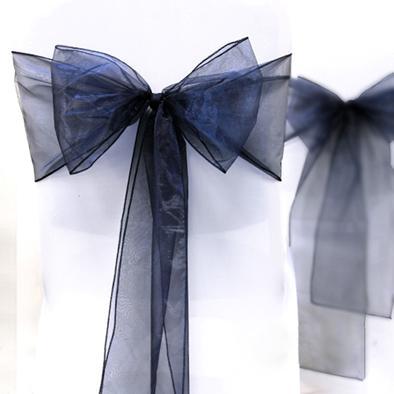 "Wholesale-High Quality Navy Blue 8"" (20cm) W x 108"" (275cm) L Organza Sashes Wedding Favor Party Banquet Organza Chair Sash Decor-Free Ship"