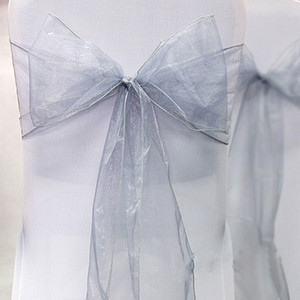 "Wholesale-High Quality Silver 8"" (20cm) W x 108"" (275cm) L Organza Sashes Wedding Favor Party Banquet Organza Chair Sash Decor-Free Ship"