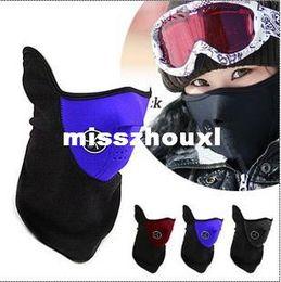 Masque de ski noir rouge en Ligne-Chaud Neoprene Hiver Ski Masque Snowboard Moto Vélo Doux Rouge Noir Bleu