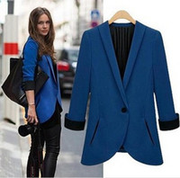 Wholesale Tunic Foldable Sleeve - 2014Tops Fashion Womens Suit Tunic Foldable sleeve lined striped Blazer Jacket shawl cardigan Coat one button