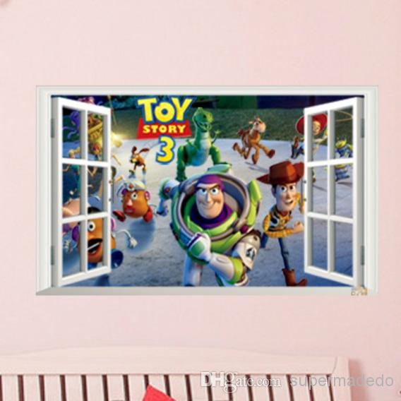 Amazing Toy Story Wall Stickers Fake Window Movie Poster For Children Room Home  Decor Famous Toy Family Buzz Lightyear And His Friends Adventure Reusable  Wall ... Part 18