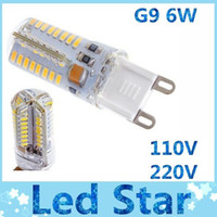 Wholesale High Power Led For Cars - New 110V 220V LED G9 bulb lights high power 6W 64pcs 3014 SMD Led Spotlights warm cool white for car lights indoor lights warranty 2 years