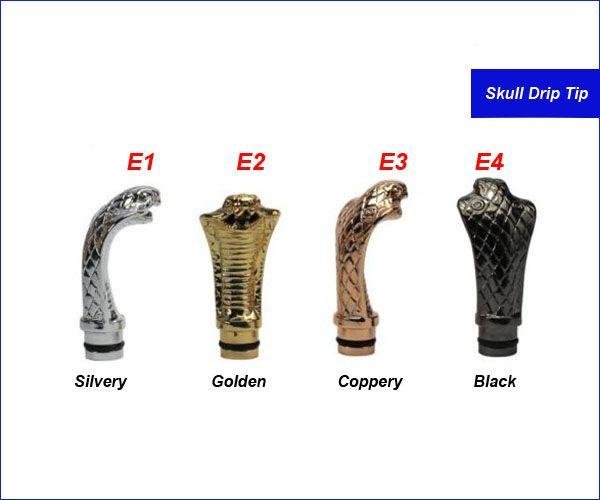King Cobra Drip Tips Snake Dragon Punta a goccia in metallo Human skull scheletro Bocchini CE4 DCT EE2 vivi nova Protank iClear 16 atomizzatore