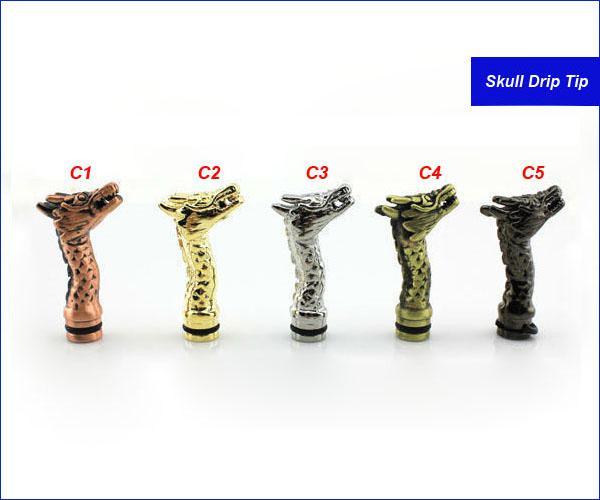 King Cobra Tropfspitzen Menschliches Skelett Kappe Schlange Tropfspitze Drachenmetallmundstücke für CE4 DCT vivi nova innokin iClear 30 Zerstäuber Clearomizer