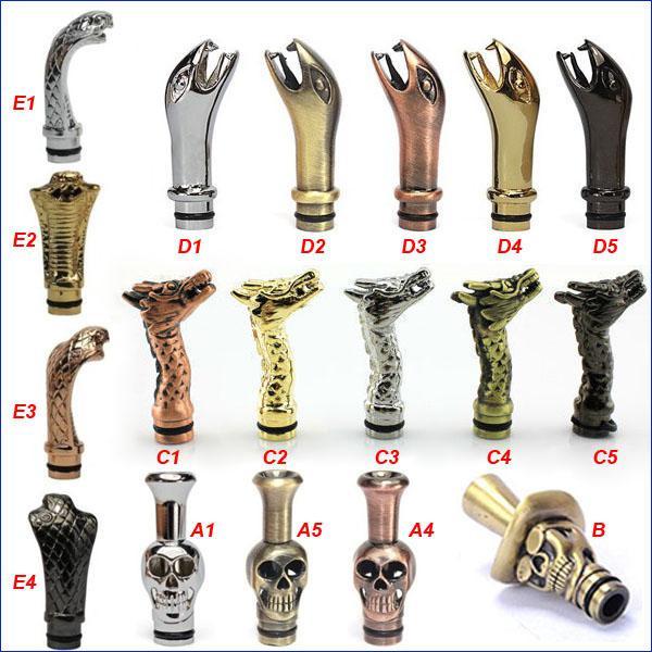 top popular King Cobra Drip Tips Snake Dragon Drip tip Metal Human skeleton skull Mouthpieces for CE4 DCT EE2 vivi nova Protank iClear 16 Atomizer 2021