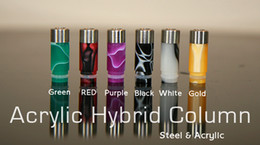 Wholesale Ego Hybrid - Acrylic Stainless Steel Cylinder Hybrid Column Drip Tips EGO Mouth Electronic Cigarette Colorful 510 Short Mouthpiece