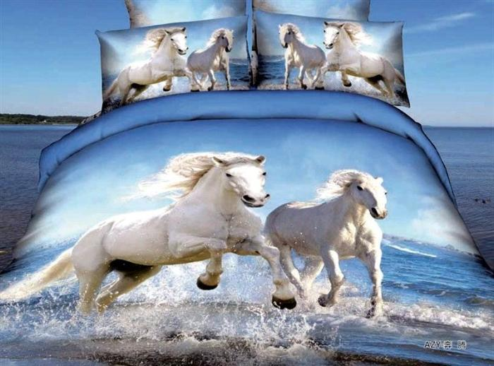 3d Swift White Horse Blue Comforter Bedding Set Queen Bed