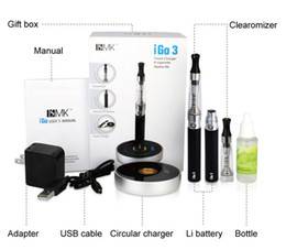 Wholesale Electronic Cigarette Led Kit - High-end E Cigarette iGo3 touch circular charger E Cig Starter Kit and blue LED display 650mah Li Battery and Transparent CE4 Atomizer