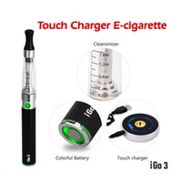 Wholesale Wholesale Battery Ends - DHL FREE High-end iGo3 touch circular charger E Cigarette Starter Kit and blue LED display 650mah Li Battery and Transparent CE4 Atomizer