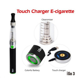 Wholesale Ce4 Displays - DHL FREE High-end iGo3 touch circular charger E Cigarette Starter Kit and blue LED display 650mah Li Battery and Transparent CE4 Atomizer