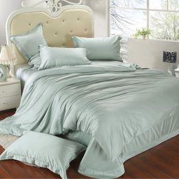 Wholesale Doona Green King - Luxury king size bedding set queen light mint green duvet cover double bed in a bag sheet linen quilt doona bedsheet tencel 4pcs bedcover