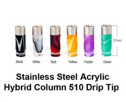 Wholesale Hybrid Steel - Newest Acrylic Hybrid Column drip tip Stainless Steel Drip Tips 510 Cylinder mouthpiece fit ego t Evod CE4 VIVI NOVA DCT E CIG