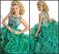 Wholesale Purple Falbala - 2014 New Hot Girl's Pageant Dresses Crew Beads Rhinestone Ball Gown Falbala Floor Length Organza Flower Girl Gowns Of Green Red And Purple