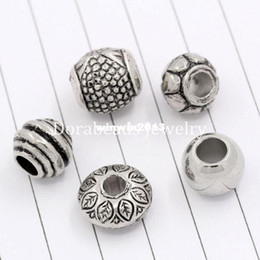 Wholesale Mixed Acrylic Beads - Free Shipping 50PCs Mixed Antique Silver Acrylic Beads Spacers Beads Fit European Charm (B03266)