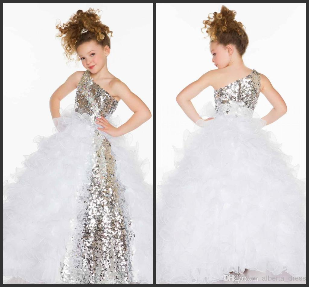 2019 Cute Lovely Girl's Pageant Dresses Sequins Crystal Ruffles A Line Tulle Flower Girl Dresses With One Shoulder Neckline